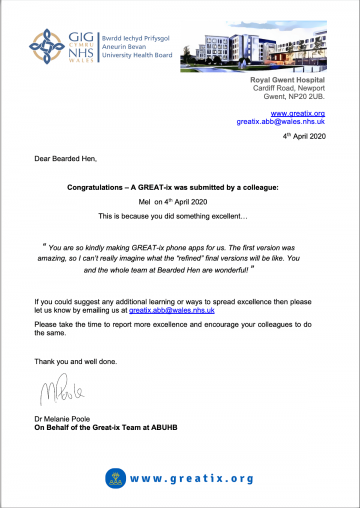 ABUHB Thank You Letter 1200